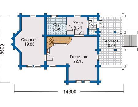 Планировка первого этажа :: Проект деревянного дома 10-06