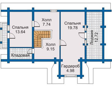 Планировка второго этажа :: Проект деревянного дома 10-06