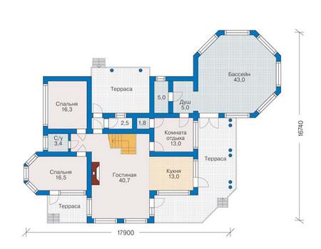 Планировка первого этажа :: Проект деревянного дома 10-08