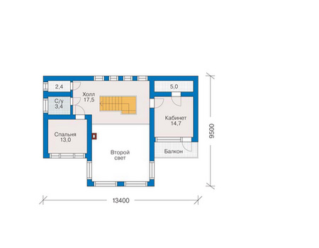 Планировка второго этажа :: Проект деревянного дома 10-08