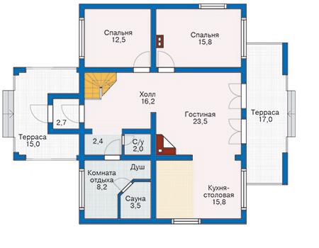 Планировка первого этажа :: Проект деревянного дома 10-09