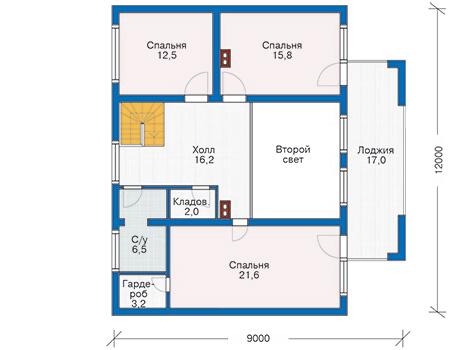 Планировка мансардного этажа :: Проект деревянного дома 10-09