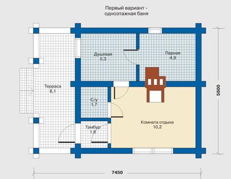 Планировка первого этажа :: Проект деревянного дома 10-17