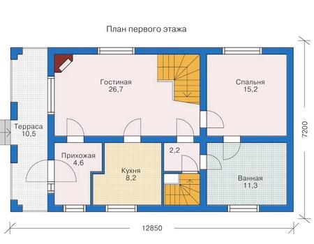 Планировка первого этажа :: Проект деревянного дома 10-19