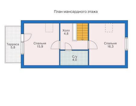 Планировка мансардного этажа :: Проект деревянного дома 10-19