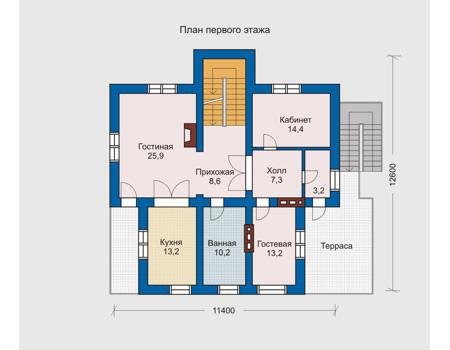 Планировка первого этажа :: Проект дома из комбинированных материалов 10-21