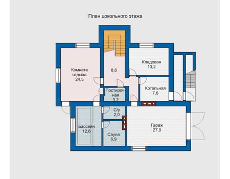 Планировка цокольного этажа :: Проект дома из комбинированных материалов 10-21