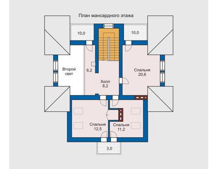 Планировка мансардного этажа :: Проект дома из комбинированных материалов 10-21