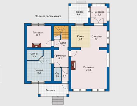 Планировка первого этажа :: Проект деревянного дома 10-23