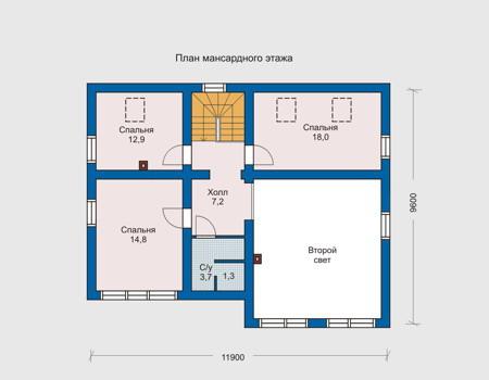 Планировка мансардного этажа :: Проект деревянного дома 10-23