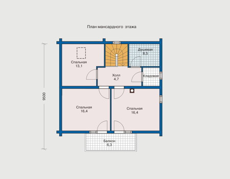 Планировка мансардного этажа :: Проект деревянного дома 10-26