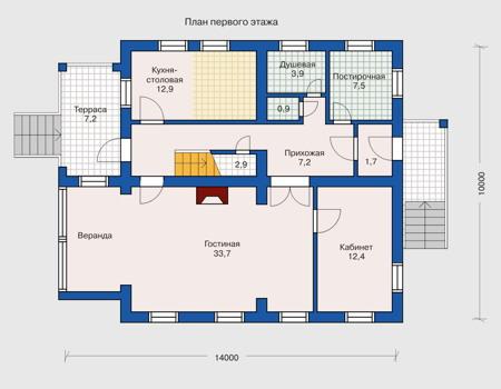 Планировка первого этажа :: Проект деревянного дома 10-29