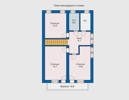 Планировка мансардного этажа :: Проект деревянного дома 10-29