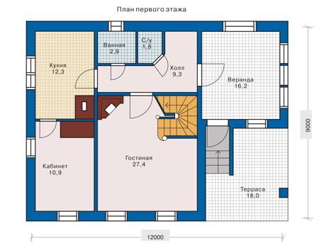 Планировка первого этажа :: Проект деревянного дома 10-37