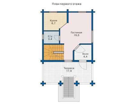 Планировка первого этажа :: Проект деревянного дома 10-38