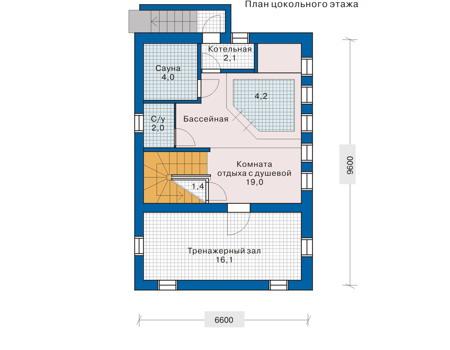 Планировка цокольного этажа :: Проект деревянного дома 10-38