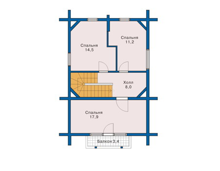 Планировка мансардного этажа :: Проект деревянного дома 10-38