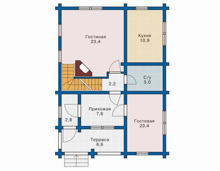 Планировка первого этажа :: Проект деревянного дома 10-42
