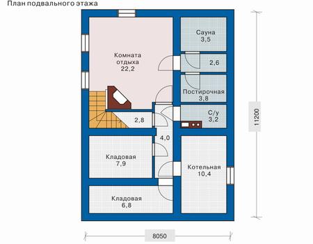 Планировка цокольного этажа :: Проект деревянного дома 10-42