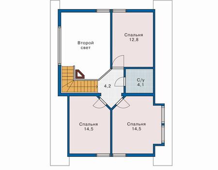 Планировка мансардного этажа :: Проект деревянного дома 10-42