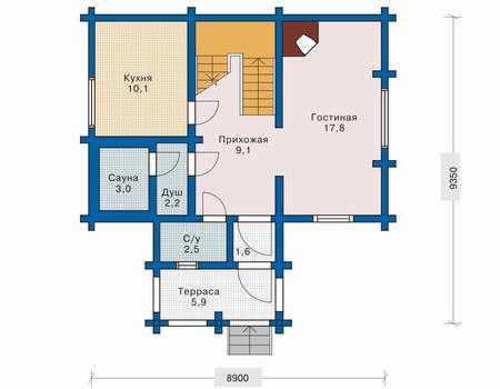 Планировка первого этажа :: Проект деревянного дома 10-44