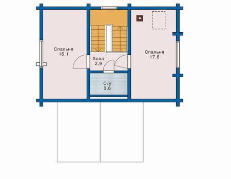 Планировка мансардного этажа :: Проект деревянного дома 10-44