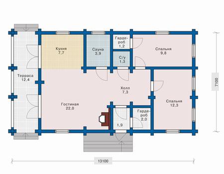 Планировка первого этажа :: Проект деревянного дома 10-45