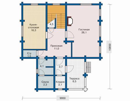 Планировка первого этажа :: Проект деревянного дома 10-46