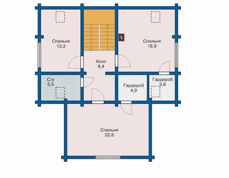 Планировка мансардного этажа :: Проект деревянного дома 10-46