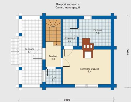 Планировка первого этажа :: Проект деревянного дома 10-47