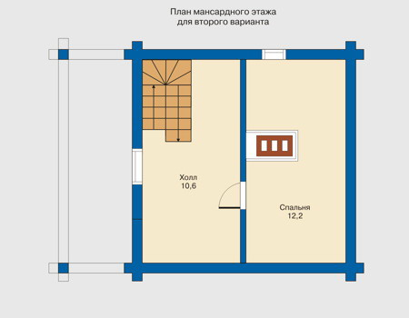 Планировка мансардного этажа :: Проект деревянного дома 10-47