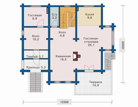 Планировка первого этажа :: Проект деревянного дома 10-49