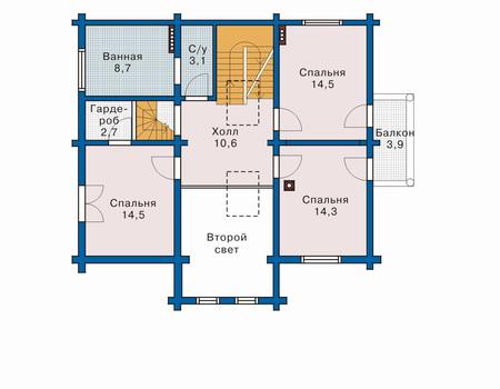 Планировка второго этажа :: Проект деревянного дома 10-49