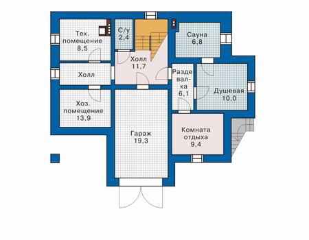 Планировка цокольного этажа :: Проект деревянного дома 10-49