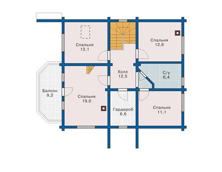Планировка мансардного этажа :: Проект деревянного дома 10-55