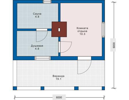 Планировка первого этажа :: Проект деревянного дома 10-60