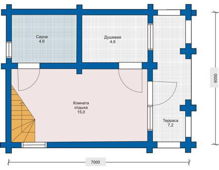 Планировка первого этажа :: Проект деревянного дома 10-61