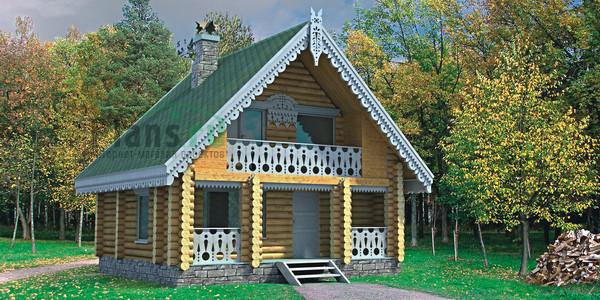Типовой проект деревянной бани 6х7.  Бревенчатая баня с двухскатной крышей.