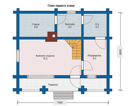 Планировка первого этажа :: Проект деревянного дома 10-65