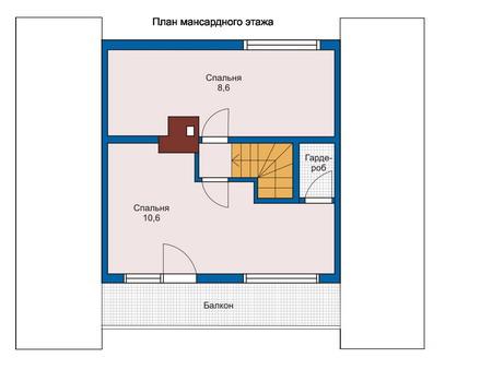 Планировка мансардного этажа :: Проект деревянного дома 10-65