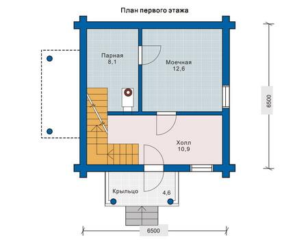 Планировка первого этажа :: Проект деревянного дома 10-68