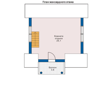 Планировка мансардного этажа :: Проект деревянного дома 10-68