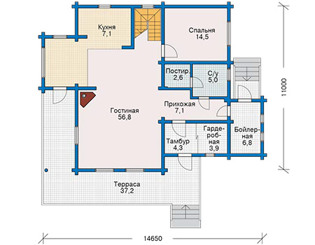 Планировка первого этажа :: Проект деревянного дома 10-75