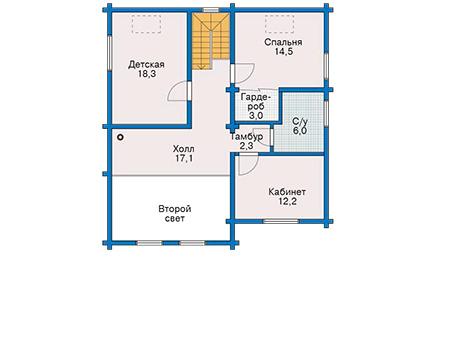 Планировка мансардного этажа :: Проект деревянного дома 10-75