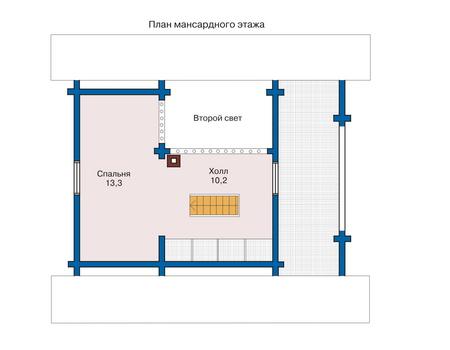 Планировка мансардного этажа :: Проект деревянного дома 10-76