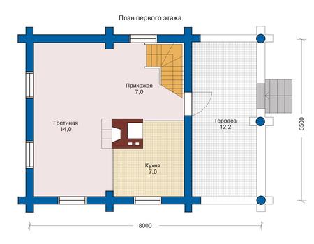 Планировка первого этажа :: Проект деревянного дома 10-77