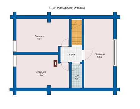 Планировка мансардного этажа :: Проект деревянного дома 10-77