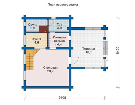 Планировка первого этажа :: Проект деревянного дома 10-80