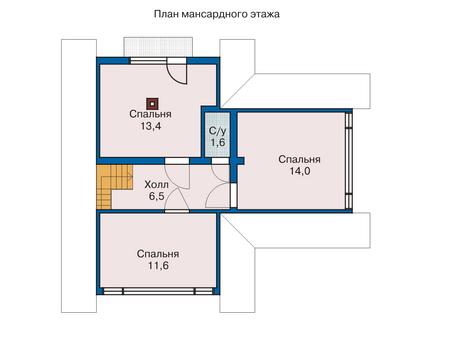 Планировка мансардного этажа :: Проект деревянного дома 10-80