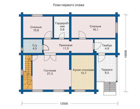 Планировка первого этажа :: Проект деревянного дома 10-81